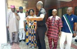 Change of Batons in Ekiti: Fayose conducts Fayemi's wife round Government House