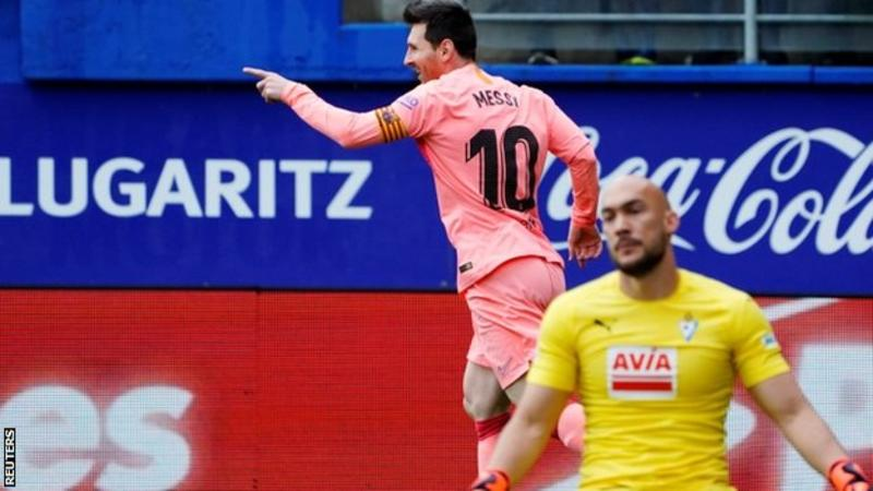 Messi scores a brace but Eibar hold Barca in the final match of La Liga season