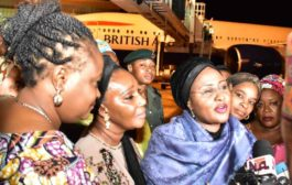 Aisha Buhari returns from UK: Silent on rumoured second wife for President