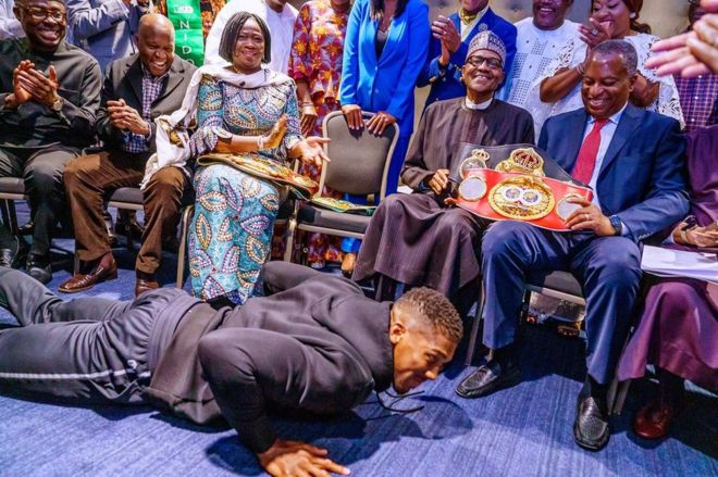 President Muhammadu Buhari 'floors' Anthony Joshua in London